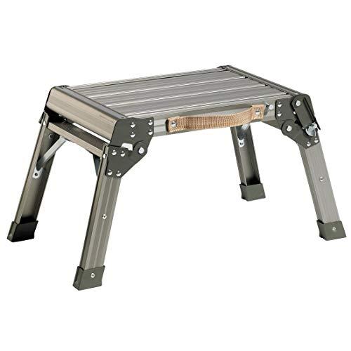 Arbeitsplattform DR-Büro 1460 - Aluminium - Maße (B/T/H) 46x30x33 cm - Belastbarkeit 150 kg - geriffelte Trittfläche - Sicherheitsverriegelung - Klappbare Arbeitsplattform