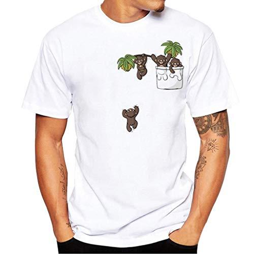 Celucke Weiße T-Shirt Herren Rundhalsausschnitt Stretch Basic Kurzarm Tops aus 100% Bio-Baumwolle mit Moderne Print, Männer Short Sleeve Top Tee Casual Coole O-Neck Kurzarmshirt Slim Fit