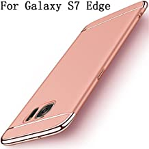 Galaxy S7 edge Case,Heyqie 3 in 1 Ultra-thin 360 Full Body Anti-Scratch Shockproof Hard PC Non-Slip Skin Smooth Back Cover Case with Electroplate Bumper for Samsung Galaxy S7 Edge G9350 - Rose Gold