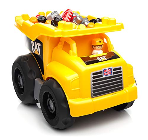 Mega Bloks Camion Benne CAT, véhicule et jeu de construction, 25 pièces, jouet pour bébé et enfant de 1 à 5 ans, DCJ86