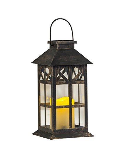 Metallische Solar Laterne aus Dunklem Bronze Metall im Antik-Stil, Wetterfeste Bezaubernde Tisch- oder Hängelampe für Außen- und Innenbereich Design mit Glasfenstern und Wunderschön Leuchtender Kerze