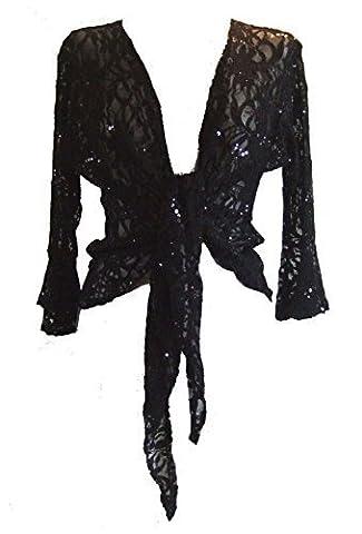 Noir (Lace Sequind Shrug) Boléro/Gilet Dentelle Pailletté. Taille 52/54