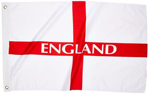 Langlebige Polyester Flagge 0.61 meters x 0.91 meters, oder 60 cm x 90 cm, Motiv England St. George Flagge Souvenir! Fußball, Flagge/Fahne/Flagge, Fußball/Rugby-Souvenir Memoria! Speicher, zwei Messing-Ösen, perfekt für den Innen- und Außenbereich, Design:/Flagge/Bandierailla/Bandera!