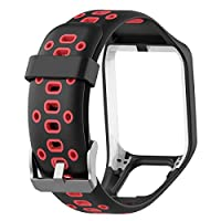 Geggur For TomTom Watch Strap,Accessory Replacement Strap Soft Silicone Gel Watch Band Wristband Strap Sport Bracelet For TomTom Runner 2/Runner3/Spark3 GPS Running Smartwatch