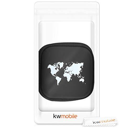 kwmobile Tasche für In-Ear Kopfhörer - Case Hardcase Schutztasche Earphone Cover Schutzhülle - Headphone Etui Weltkarte Umriss Design - 4