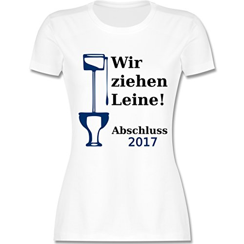 Abi & Abschluss - Wir ziehen Leine - Abschluss 2017 - tailliertes Premium T-Shirt mit Rundhalsausschnitt für Damen Weiß