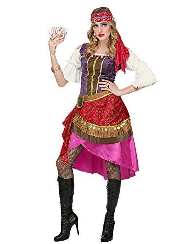 Gypsy Kostüm Schuhe - Horror-Shop Wahrsagerin Kostüm mit Kopftuch für Fasching & Karneval M
