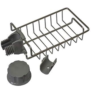 Meisijia Kitchen Sink Regal Soap Schwamm Abfluss Rack-Hahn-Halter-Organisator-Edelstahl-Ablauf Storage Basket Soap Organizer