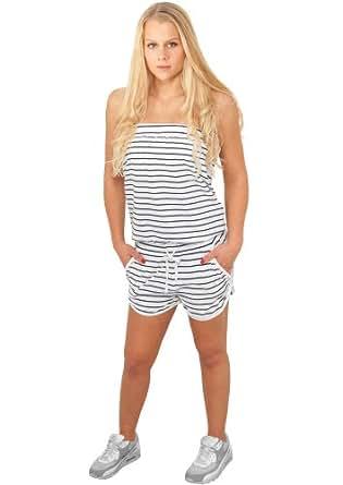 Urban Classics Damen Stripe Hot Jumpsuit, weiß-navy (XS)