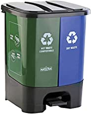 Nayasa Twin Bin Dry and Wet Waste Dustbin with Pedal 19 Liters
