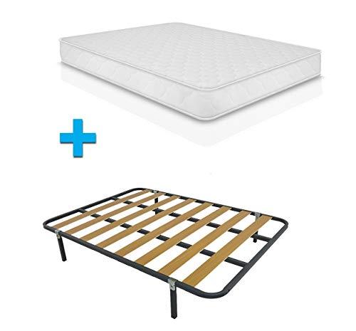 Duermete Cama Completa Colchón ConfortVisco Reversible + Somier Basic con 4 Patas...