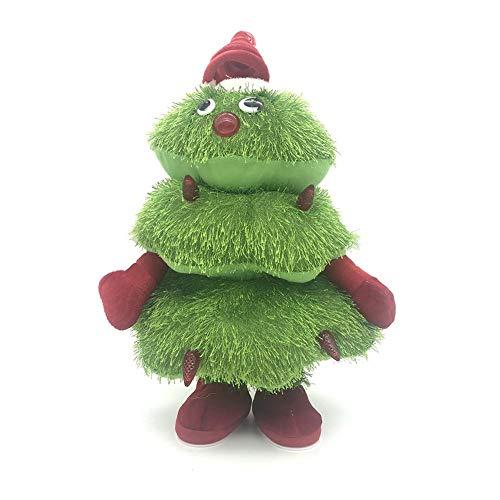 Meetforyou Christmas Electric Singing and Dancing Christmas Tree Peluches para Decoraciones de árboles de Navidad, Juguete de Felpa eléctrico navideño