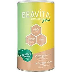 BEAVITA Vitalkost Plus | Geschmack Cookies & Cream Pulver - 572g | der leckere Diät-Shake für unbeschwertes Abnehmen | reicht für 10 Shakes / Mahlzeiten | Kalorien sparen & Gewicht reduzieren mit dem 14 Tage-Diätplan inkl. | Laktosefrei & Vegetarisch