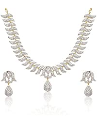 American Diamond Gold Plated Necklace Jewellery Set With Earrings For Women And Girl