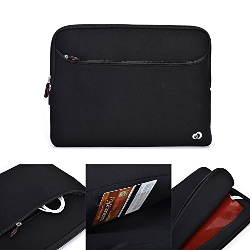 Kroo 39,6cm Notebook Laptop Schwarz Neopren Sleeve mit Große Tasche Fach für Zubehör Passt Panasonic Toughbook CF-53/52MK5WUXGA/Packard Bell Easynote TE69 schwarz schwarz