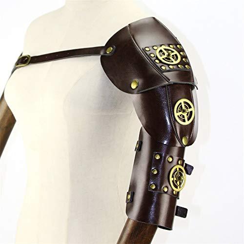 Yzibei Elegant Unisex Retro PU Leder Steampunk Cosplay Party Schulter Brustgurt mit Variabler Armband Kostüm Requisiten ()