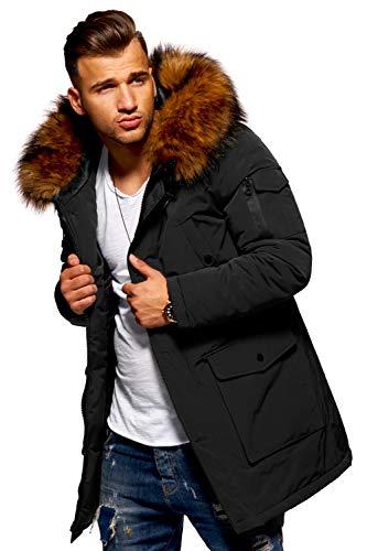 Behype. Herren Winter-Parka Winter-Jacke mit Kunstfell & Kapuze 55-5700 Schwarz L