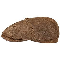 Stetson Ledermütze Hatteras Burney Herren - Schiebermütze Schirmmütze Flatcap mit Schirm, Futter Frühling-Sommer Herbst-Winter - L (58-59 cm) braun