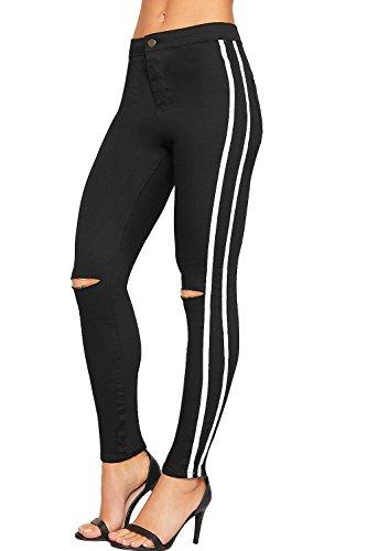 WEARALL - Damen Hoch Taille Seite Gestreift Durchgeschnitten Knie Dünn Denim Jeans Damen Hose - Schwarz Weiß - - Zerschlissene Jeans
