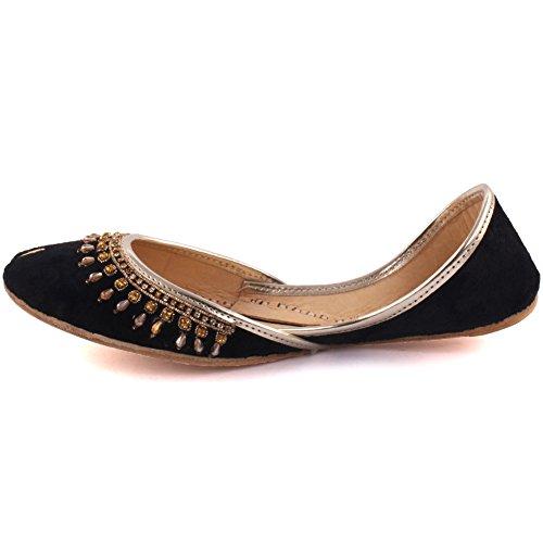Unzè Unze Signore delle Donne Tradizionale giainismo Cristallo Décor Indiano Casual Scarpe di Cuoio Piatto Khussa Pantofole Formato Britannico 3-8 Nero
