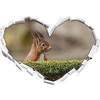scoiattoli cattivi dietro a forma di cuore tronco d'albero nel formato aspetto, parete o adesivo porta 3D: 62x43.5cm, autoadesivi della parete, decalcomanie della parete, decorazione della parete