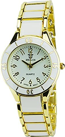 BELLOS - Montre Femme BLANC OR Quartz Acier Elégant Sport Mode Bracelet BLANC ORACIER