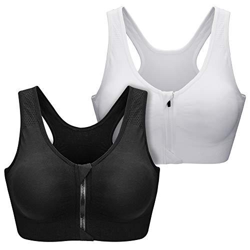 SANMIO Damen Sport BHS, Sport Bra für Frauen Racerback Medium High Impact Sport Fitness Yoga 3 Packs für Radfahren,Joggen,Boxen