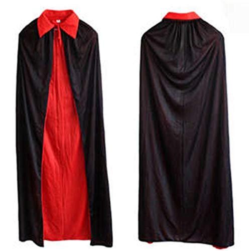 Party Decoration 120cm Umhang Kids Childs Halloween Hexenkragen schwarzer und roter Umhang Umhang aus Vampir, der auf beiden Seiten des doppelten Umhangs getragen Wird
