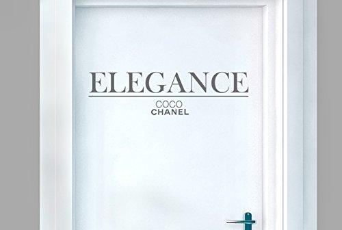 CUT IT OUT CO CO Chanel Eleganz Tür Raum Sticker Art Aufkleber-Grau (Höhe 15cm x Breite 40cm)