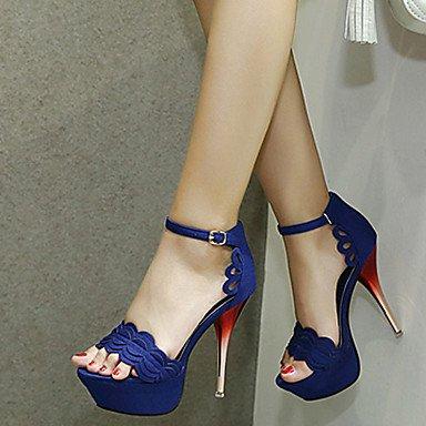 LvYuan Da donna Sandali Felpato Estate Pizzo A stiletto Nero Rosso Blu 10 - 12 cm ruby