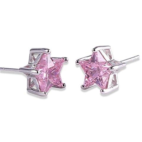 GULICX Lieblich Silber-Ton Kleiner Stern Ohrstecker Rosa Zirkonia CZ Cluster Ohrringe Für Frauen und Mädchen