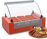 Roller Machine Commerciale Hot Dog 7 avec Couvercle, électrique 7 Hot DogElectric Hotdogs Griller Cooker, Matériel Acier Inoxydable, Non Stick, Convient pour Usage Domestique, Magasin
