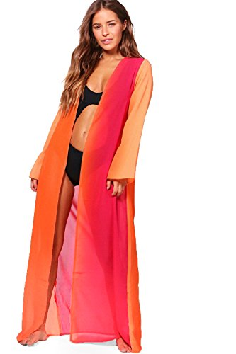 Femmes Orange Petite Lisa Kimono De Plage Maxi Ombré Orange