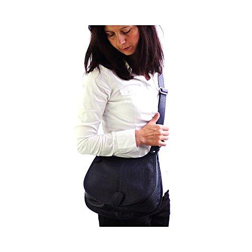 Olivia–Borsa a spalla pelle goffrata Sacchetti donne modello Prato–Sacchetti non Onorevoli, nero (Nero) - 1020P blu marino