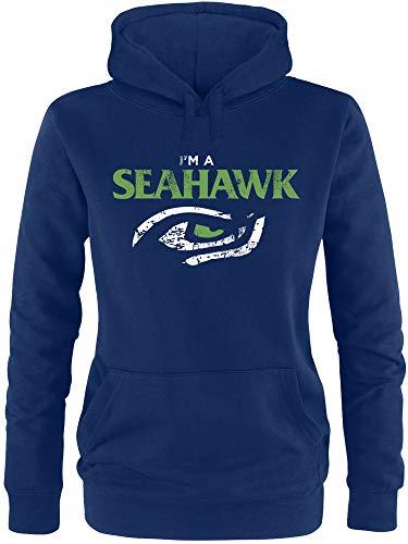 EZYshirt® I´am a Seahawk vol. 2 | American Football Damen Hoodie | Damen Kapuzenpullover | Damen Pullover (Niners Sweatshirt)