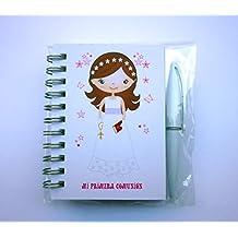 Detalles y Regalos de Comunión Para Invitados Originales - Libretas Niña con mini bolígrafo para Comuniones