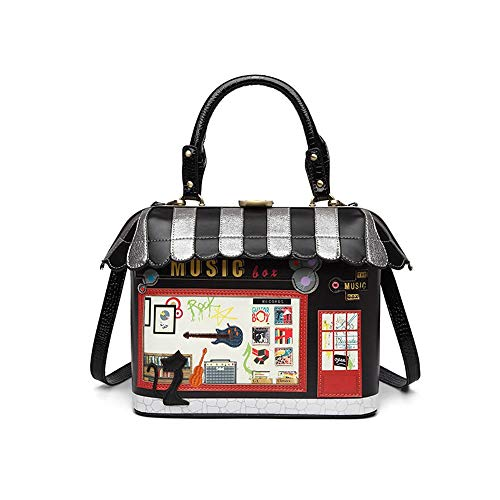 JIAJIA Der Neue Querschnitt Schnalle Handtaschen Mobile Messenger Bag Kleine Frische Parkett Paket 27CM * 10.5CM * 24CM leuchtenden (Farbe : Black)