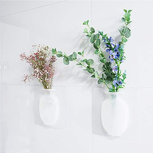 Omiky Saugnapf klebrige Vase, abnehmbare und Wiederverwendbare Wandbehang Silikonvasen, Kleiner dekorativer Blumentopf für Zuhause und Büro