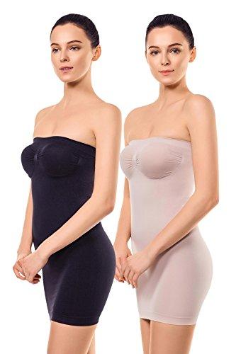 +MD Damen Miederkleid Trägerloses Body Shape Kleid Shapewear Unterrock Figurformendes Unterkleid Schwarz/NudeXL