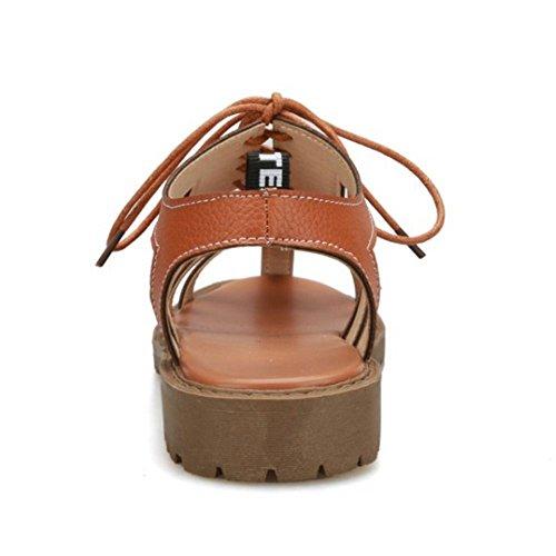 TAOFFEN Damen Klassischer Schnurung Strappy Sandalen Ausgeschnitten Fesselriemen Sommer Schuhe Braun
