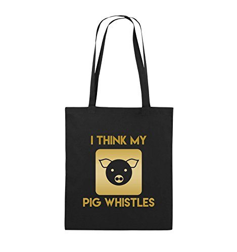 Comedy Bags - I THINK MY PIG WHISTLES - Jutebeutel - lange Henkel - 38x42cm - Farbe: Schwarz / Silber Schwarz / Gold