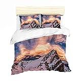Housse de Couette Montagne Parures de lit 1 Personne Montagne Peak Naturel Paysages...