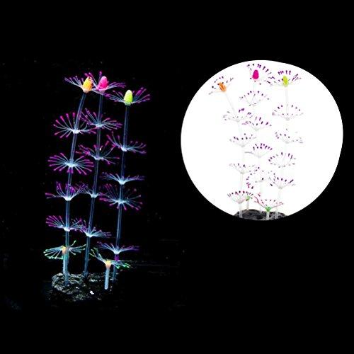 UEETEK Künstliche Aquarium Reef Coral Pflanze dekorative Ornament mit leuchtenden Effekt für Aquarium Dekoration (lila, 20x9x6cm) - Coral Dekoration Reef Aquarium