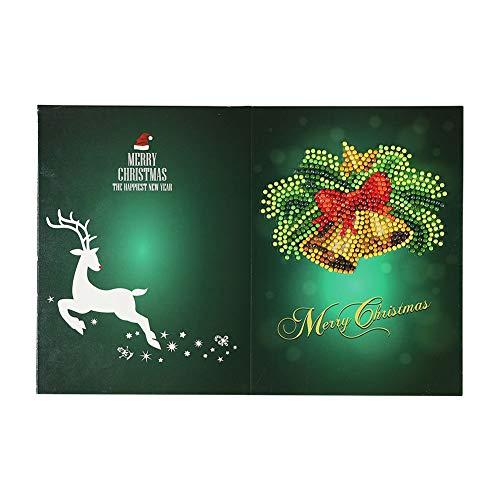 5d diy diamond painting buon natale con babbo natale renna pupazzo di neve albero di natale festival di cartoline di auguri per la famiglia e gli amici free size 3#