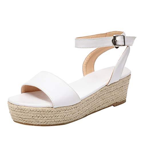 en Riemen Knöchel Schnalle Plattform Peep Toe Bequeme Keile Gewebte Sandalen Damen Gladiator Römische Schuhe Sommer Strand Schuhe ()
