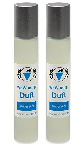 WcWunder Toilettenduft, Toilettenparfüm, Geruchsblocker 2x100ml Glasflakon Meeresbrise