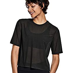 CRZ YOGA Mujer Manga Corta Cropped See-Though Mellla Top Ropa de Deportiva Negro