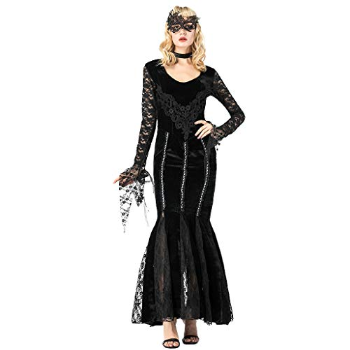 Bearbelly - Damen Mittelalterliche Vampirin Kostüm Kleid mit Augenmaske,Mittelalter Kleid bodenlangen Cosplay Dress Age Mittelalter Kleidung Renaissance Kostüm Lang Halloween Kostüm (1920 Vampir Kostüm)