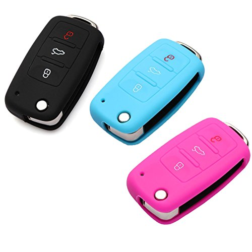 3 x Silikon Farbig Schlüsselhülle Fernbedienung Schlüsselcover,ilikon Schlüssel Hülle für die VW 3-Tasten Fernbedienung