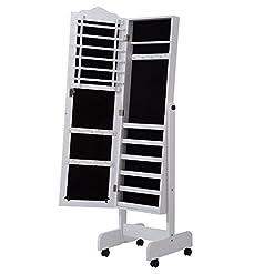 5c195abce0a3 2 en 1 Espejo de Pie con Joyero para Interior Organizador de Joyas con 4  Ruedas – Color Blanco – MDF – 43x47x146 cm